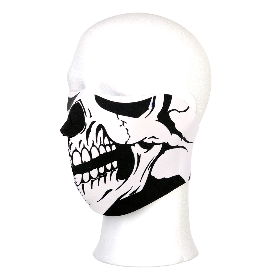 Biker mask half face white mouth #115