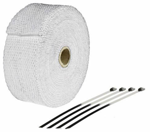 EXHAUST WRAP HEATPROOF WHITE 10M