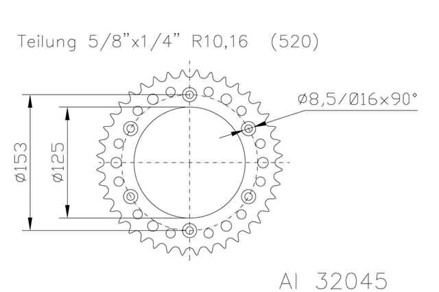 0125 CC Suzuki RM 125 M 1991 Rear Sprocket51 teeth